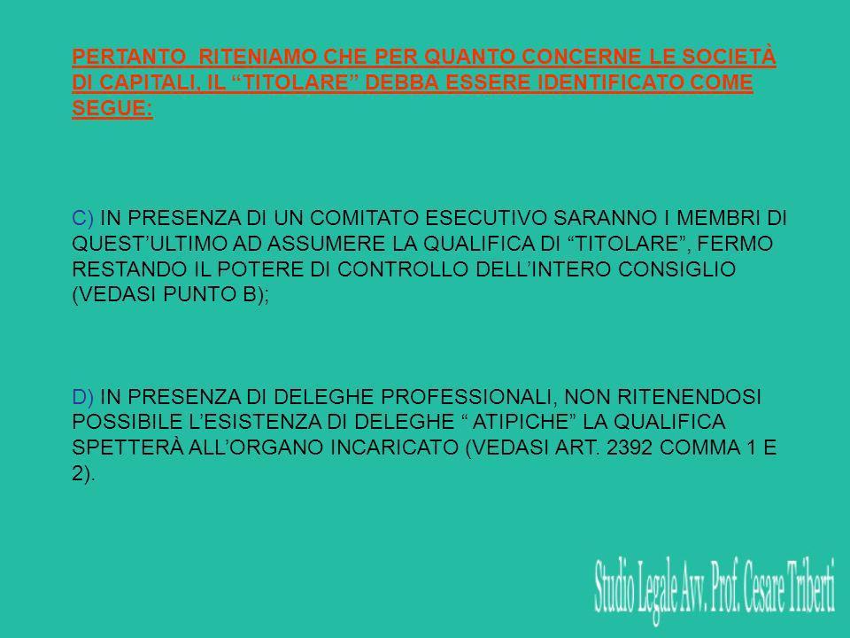 C) IN PRESENZA DI UN COMITATO ESECUTIVO SARANNO I MEMBRI DI QUESTULTIMO AD ASSUMERE LA QUALIFICA DI TITOLARE, FERMO RESTANDO IL POTERE DI CONTROLLO DELLINTERO CONSIGLIO (VEDASI PUNTO B); D) IN PRESENZA DI DELEGHE PROFESSIONALI, NON RITENENDOSI POSSIBILE LESISTENZA DI DELEGHE ATIPICHE LA QUALIFICA SPETTERÀ ALLORGANO INCARICATO (VEDASI ART.