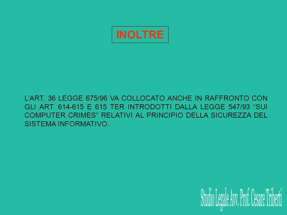 INOLTRE LART. 36 LEGGE 675/96 VA COLLOCATO ANCHE IN RAFFRONTO CON GLI ART. 614-615 E 615 TER INTRODOTTI DALLA LEGGE 547/93 SUI COMPUTER CRIMES RELATIV