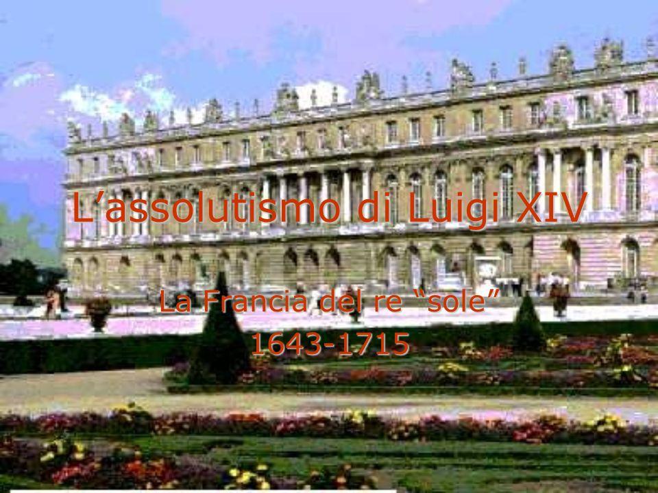 Assolutismo e mercantilismo LUIGI XIV: CENTRALIZZAZIONE DELLO STATO, GESTIONE DIRETTA DEGLI AFFARI POLITICI TRAMITE IL CONSIGLIO DEL RE (UNA SORTA DI CONSIGLIO DEI MINISTRI) ED IMBRIGLIAMENTO DELLE FORZE CENTRIFUGHE (CETO NOBILIARE RIOTTOSO) LUIGI XIV: CENTRALIZZAZIONE DELLO STATO, GESTIONE DIRETTA DEGLI AFFARI POLITICI TRAMITE IL CONSIGLIO DEL RE (UNA SORTA DI CONSIGLIO DEI MINISTRI) ED IMBRIGLIAMENTO DELLE FORZE CENTRIFUGHE (CETO NOBILIARE RIOTTOSO) COLBERT (ministro delle finanze): MERCANTILISMO (IMPULSO AL COMMERCIO INTERNO, PROTEZIONE DELLE FRONTIERE) – Colbertismo COLBERT (ministro delle finanze): MERCANTILISMO (IMPULSO AL COMMERCIO INTERNO, PROTEZIONE DELLE FRONTIERE) – Colbertismo
