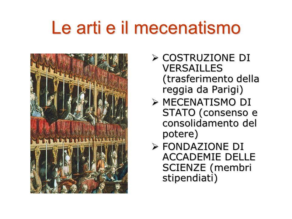 Le arti e il mecenatismo COSTRUZIONE DI VERSAILLES (trasferimento della reggia da Parigi) COSTRUZIONE DI VERSAILLES (trasferimento della reggia da Parigi) MECENATISMO DI STATO (consenso e consolidamento del potere) MECENATISMO DI STATO (consenso e consolidamento del potere) FONDAZIONE DI ACCADEMIE DELLE SCIENZE (membri stipendiati) FONDAZIONE DI ACCADEMIE DELLE SCIENZE (membri stipendiati)
