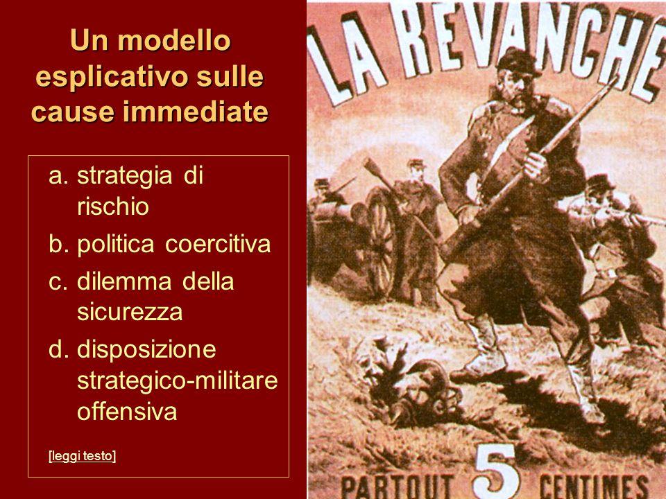 Un modello esplicativo sulle cause immediate a.strategia di rischio b.politica coercitiva c.dilemma della sicurezza d.disposizione strategico-militare