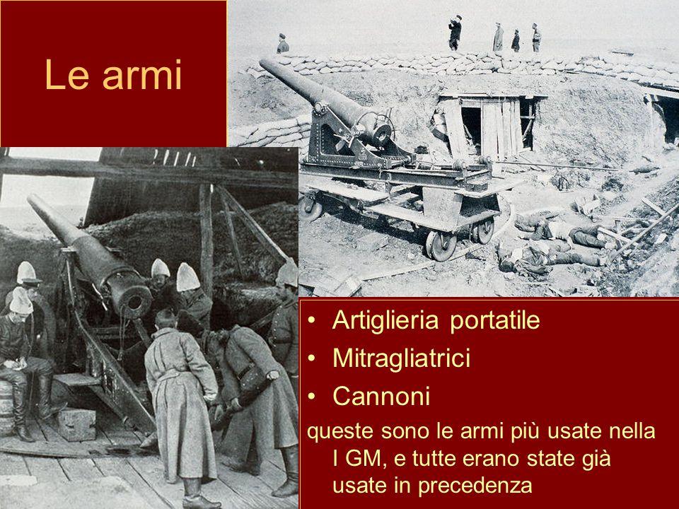 Le armi Artiglieria portatile Mitragliatrici Cannoni queste sono le armi più usate nella I GM, e tutte erano state già usate in precedenza