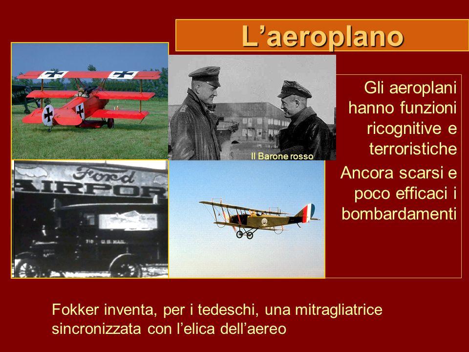 Laeroplano Gli aeroplani hanno funzioni ricognitive e terroristiche Ancora scarsi e poco efficaci i bombardamenti Fokker inventa, per i tedeschi, una