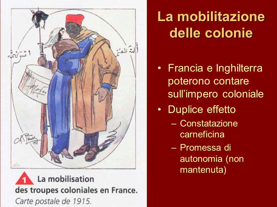 La mobilitazione delle colonie Francia e Inghilterra poterono contare sullimpero coloniale Duplice effetto –Constatazione carneficina –Promessa di aut