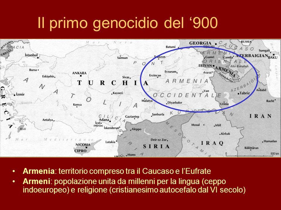 Il primo genocidio del 900 Armenia: territorio compreso tra il Caucaso e lEufrate Armeni: popolazione unita da millenni per la lingua (ceppo indoeurop