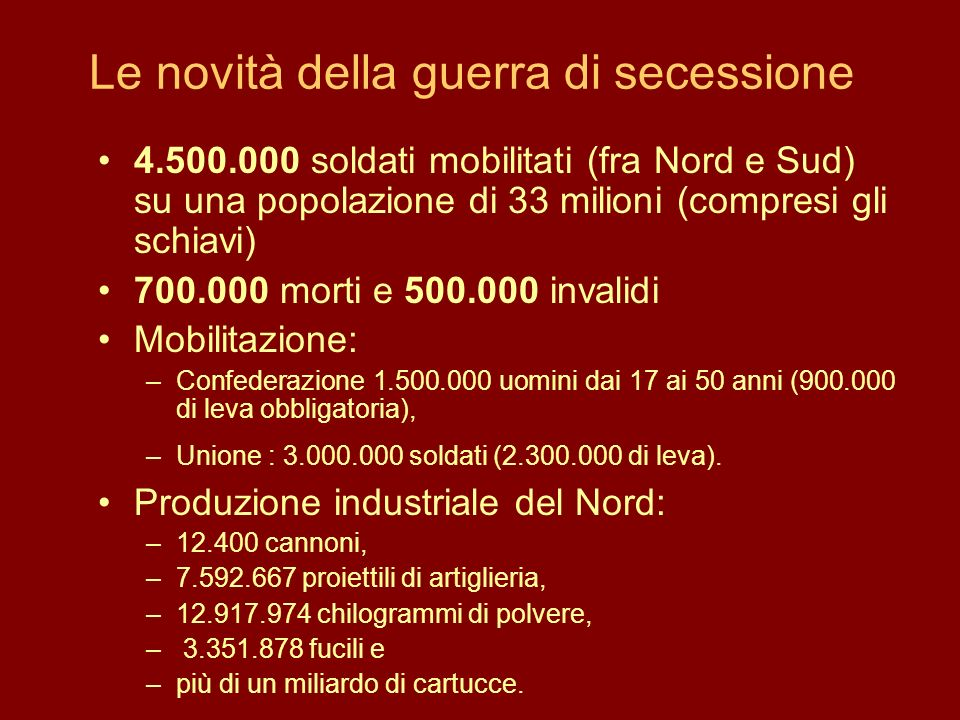 Le novità della guerra di secessione 4.500.000 soldati mobilitati (fra Nord e Sud) su una popolazione di 33 milioni (compresi gli schiavi) 700.000 mor