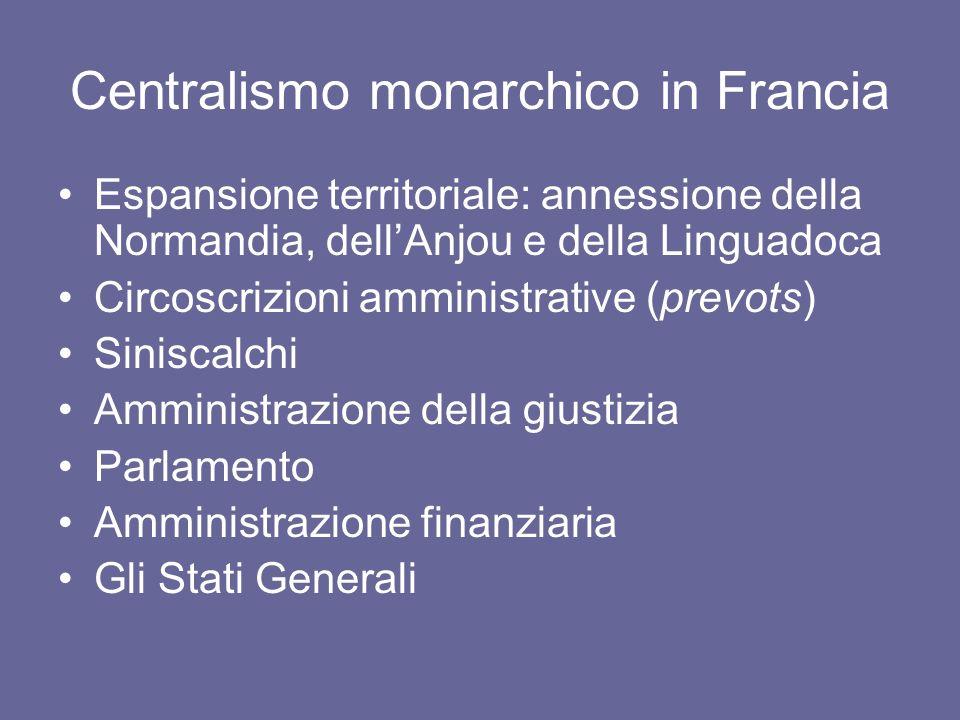 Centralismo monarchico in Francia Espansione territoriale: annessione della Normandia, dellAnjou e della Linguadoca Circoscrizioni amministrative (pre