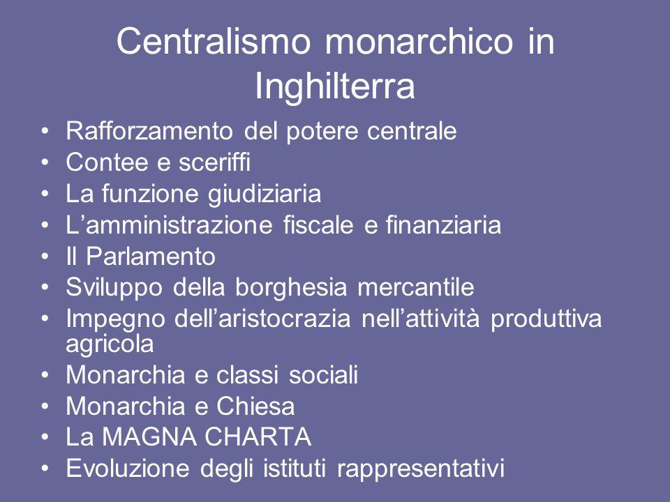 Centralismo monarchico in Inghilterra Rafforzamento del potere centrale Contee e sceriffi La funzione giudiziaria Lamministrazione fiscale e finanziar