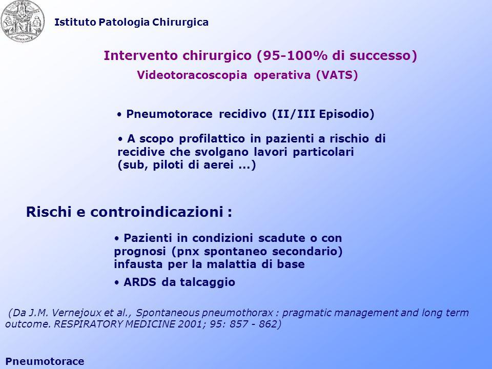 Istituto Patologia Chirurgica Pneumotorace Intervento chirurgico (95-100% di successo) Videotoracoscopia operativa (VATS) Rischi e controindicazioni :