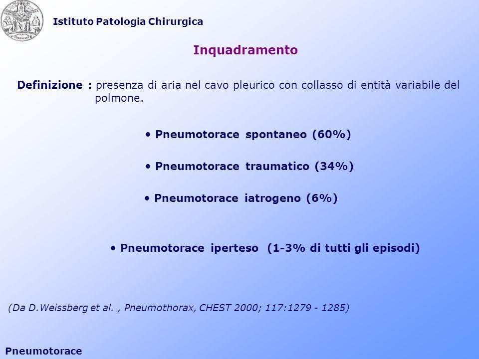 Istituto Patologia Chirurgica Pneumotorace Definizione : presenza di aria nel cavo pleurico con collasso di entità variabile del polmone. Pneumotorace