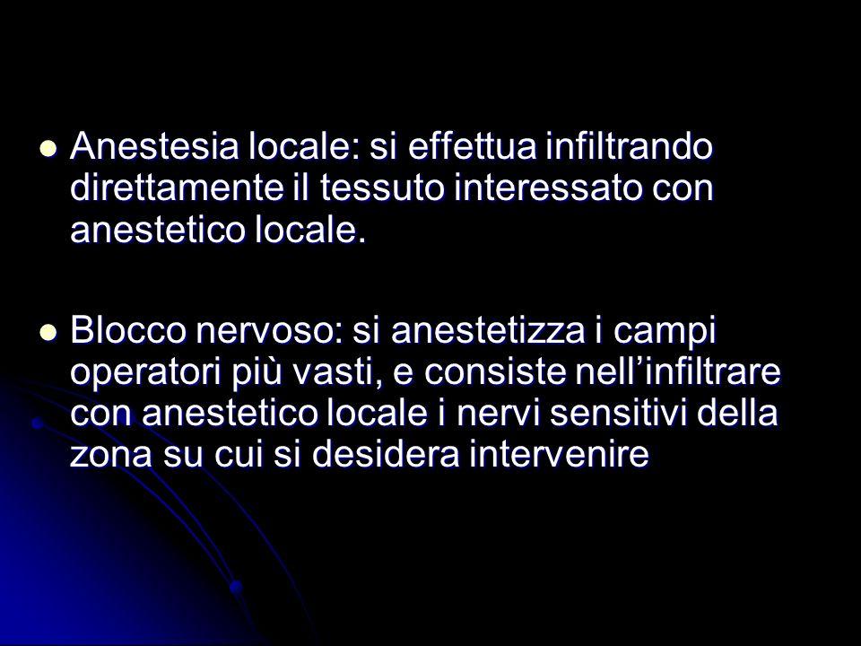 Anestesia locale: si effettua infiltrando direttamente il tessuto interessato con anestetico locale. Anestesia locale: si effettua infiltrando diretta