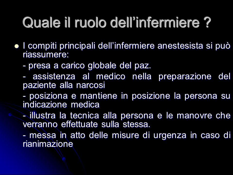 Quale il ruolo dellinfermiere ? I compiti principali dellinfermiere anestesista si può riassumere: I compiti principali dellinfermiere anestesista si