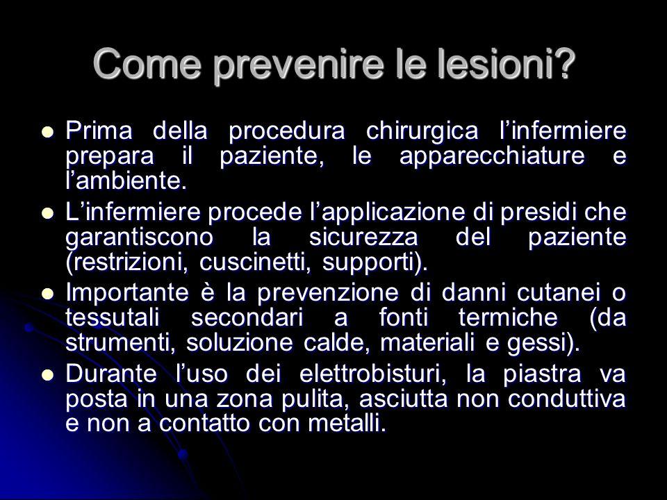Come prevenire le lesioni? Prima della procedura chirurgica linfermiere prepara il paziente, le apparecchiature e lambiente. Prima della procedura chi