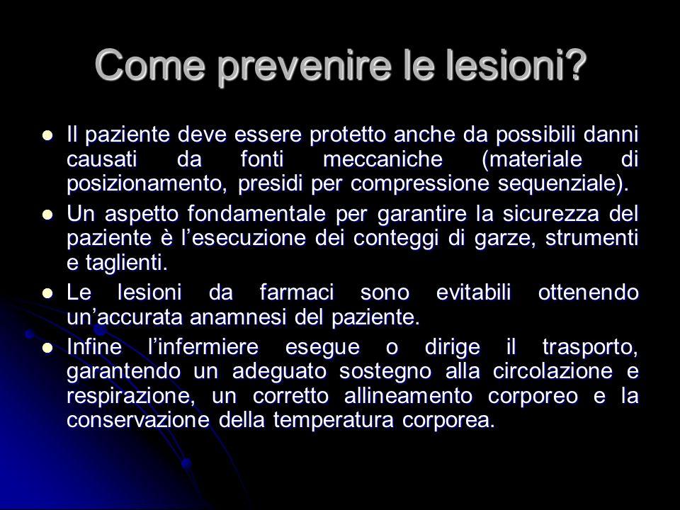 Come prevenire le lesioni? Il paziente deve essere protetto anche da possibili danni causati da fonti meccaniche (materiale di posizionamento, presidi