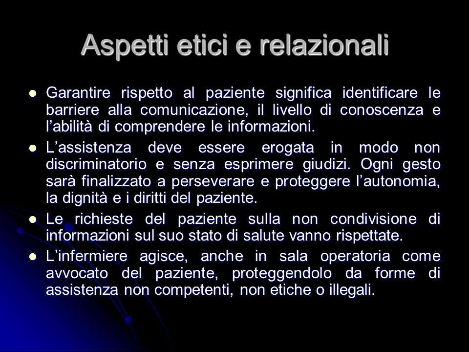 Aspetti etici e relazionali Garantire rispetto al paziente significa identificare le barriere alla comunicazione, il livello di conoscenza e labilità