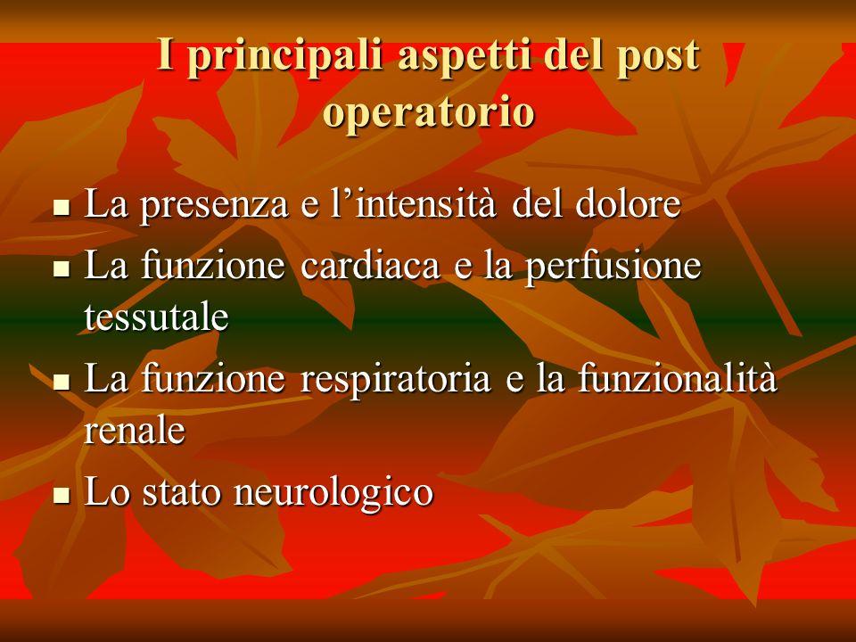 I principali aspetti del post operatorio La presenza e lintensità del dolore La presenza e lintensità del dolore La funzione cardiaca e la perfusione