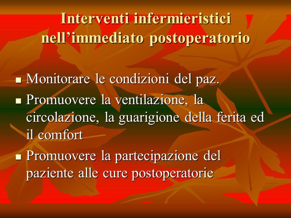 Interventi infermieristici nellimmediato postoperatorio Monitorare le condizioni del paz. Monitorare le condizioni del paz. Promuovere la ventilazione