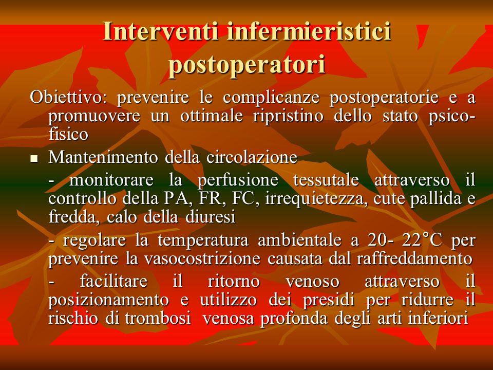 Interventi infermieristici postoperatori Obiettivo: prevenire le complicanze postoperatorie e a promuovere un ottimale ripristino dello stato psico- f