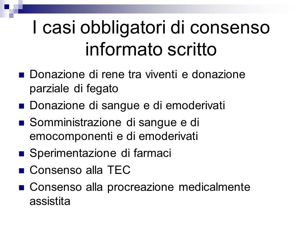 I casi obbligatori di consenso informato scritto Donazione di rene tra viventi e donazione parziale di fegato Donazione di sangue e di emoderivati Som