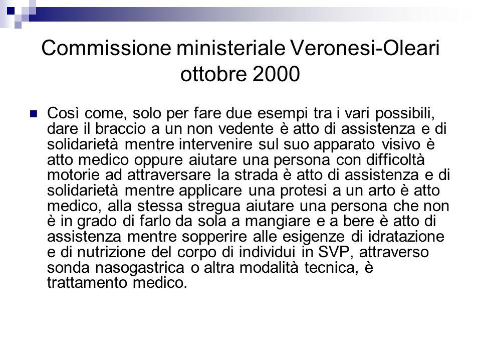 Commissione ministeriale Veronesi-Oleari ottobre 2000 Così come, solo per fare due esempi tra i vari possibili, dare il braccio a un non vedente è att