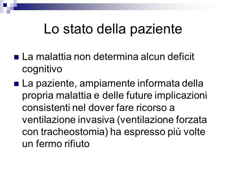 Lo stato della paziente La malattia non determina alcun deficit cognitivo La paziente, ampiamente informata della propria malattia e delle future impl