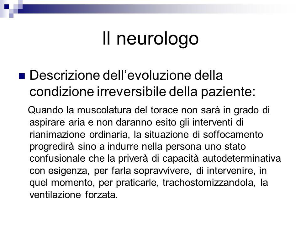 Il neurologo Descrizione dellevoluzione della condizione irreversibile della paziente: Quando la muscolatura del torace non sarà in grado di aspirare