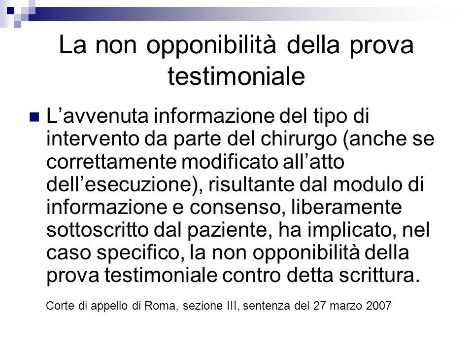 La non opponibilità della prova testimoniale Lavvenuta informazione del tipo di intervento da parte del chirurgo (anche se correttamente modificato al