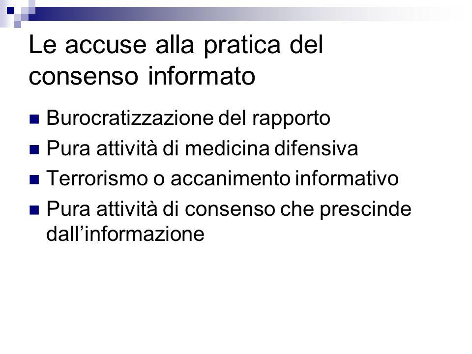Le accuse alla pratica del consenso informato Burocratizzazione del rapporto Pura attività di medicina difensiva Terrorismo o accanimento informativo