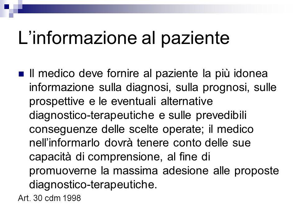 Linformazione al paziente Il medico deve fornire al paziente la più idonea informazione sulla diagnosi, sulla prognosi, sulle prospettive e le eventua