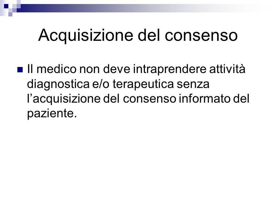Acquisizione del consenso Il medico non deve intraprendere attività diagnostica e/o terapeutica senza lacquisizione del consenso informato del pazient