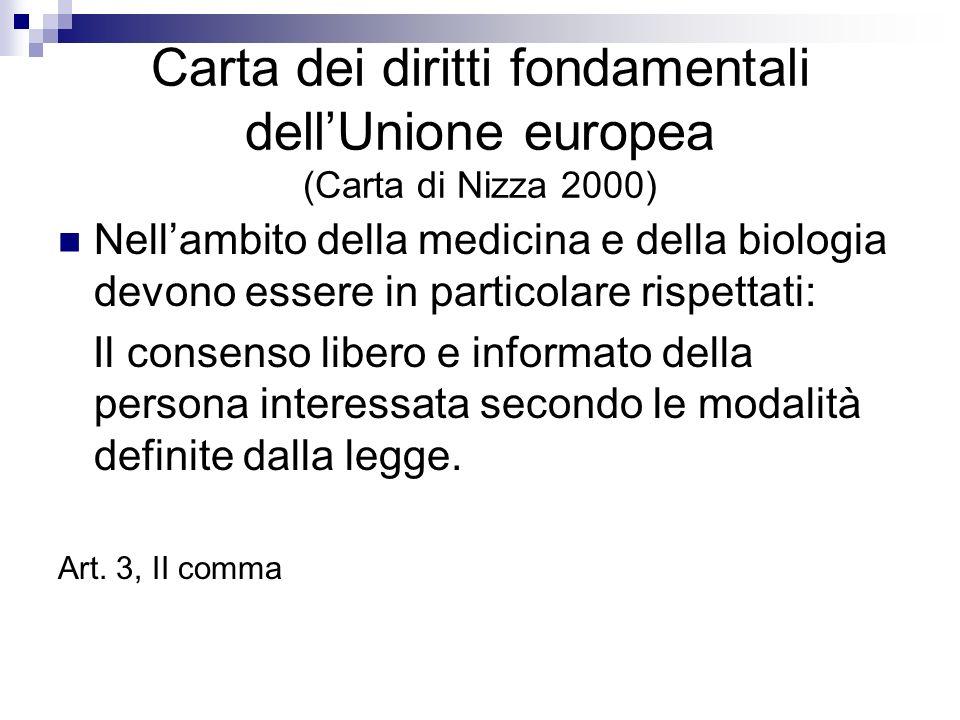 Carta dei diritti fondamentali dellUnione europea (Carta di Nizza 2000) Nellambito della medicina e della biologia devono essere in particolare rispet