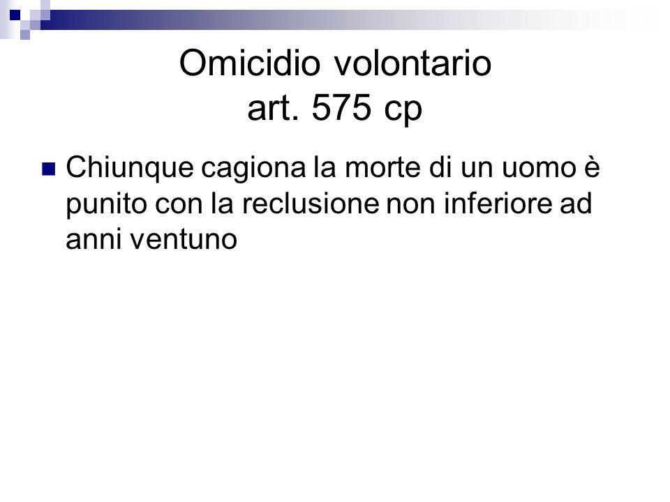 Omicidio volontario art. 575 cp Chiunque cagiona la morte di un uomo è punito con la reclusione non inferiore ad anni ventuno
