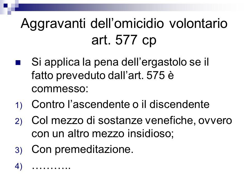 Aggravanti dellomicidio volontario art. 577 cp Si applica la pena dellergastolo se il fatto preveduto dallart. 575 è commesso: 1) Contro lascendente o