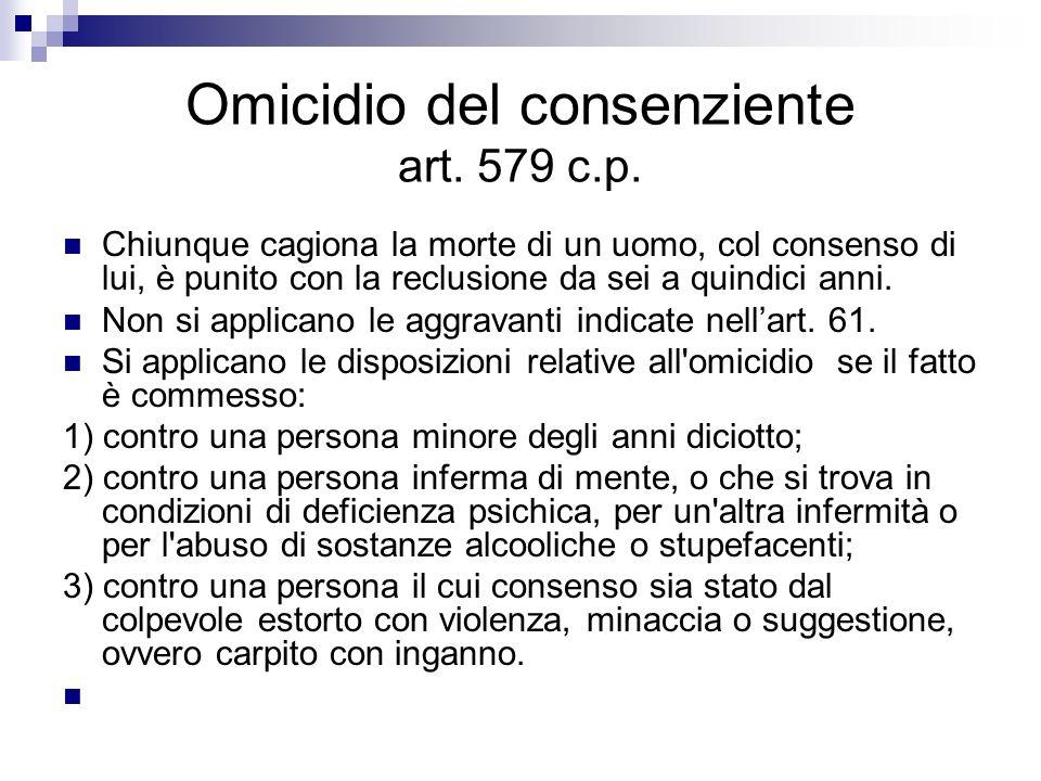 Omicidio del consenziente art. 579 c.p. Chiunque cagiona la morte di un uomo, col consenso di lui, è punito con la reclusione da sei a quindici anni.