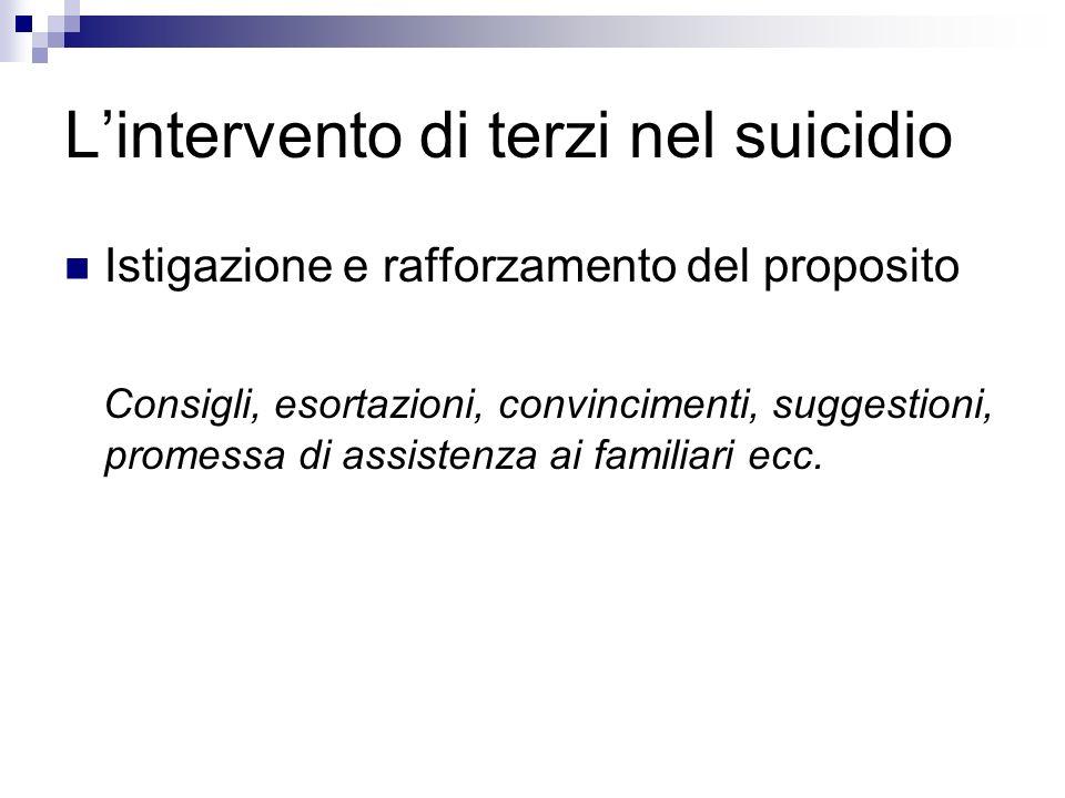 Lintervento di terzi nel suicidio Istigazione e rafforzamento del proposito Consigli, esortazioni, convincimenti, suggestioni, promessa di assistenza