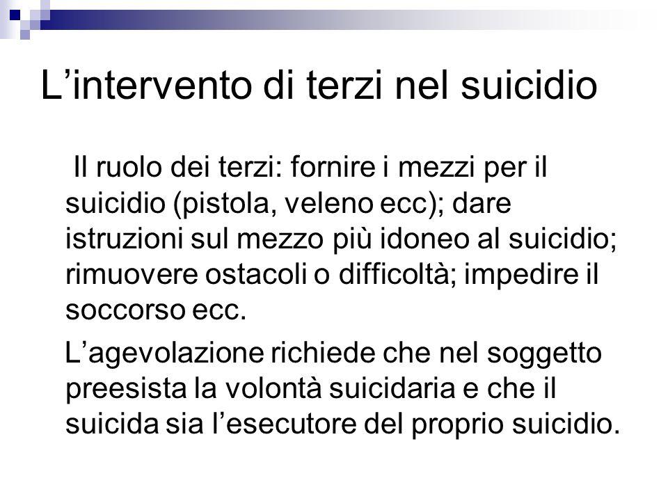 Lintervento di terzi nel suicidio Il ruolo dei terzi: fornire i mezzi per il suicidio (pistola, veleno ecc); dare istruzioni sul mezzo più idoneo al s