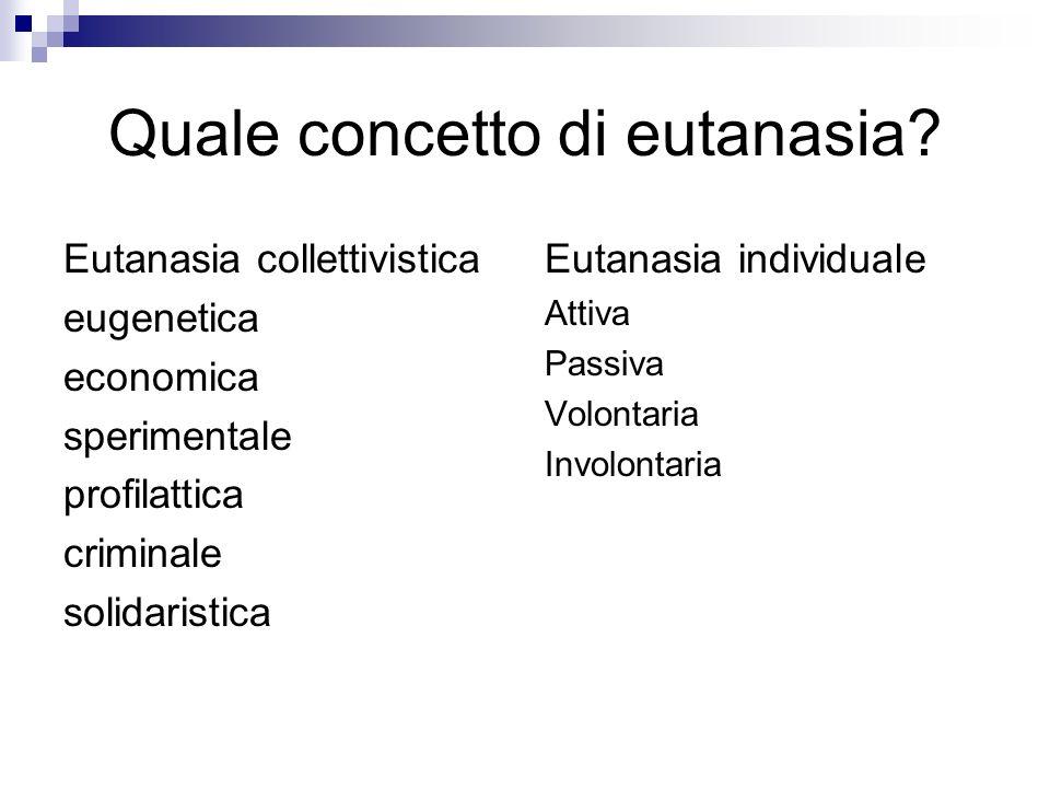 Quale concetto di eutanasia? Eutanasia collettivistica eugenetica economica sperimentale profilattica criminale solidaristica Eutanasia individuale At
