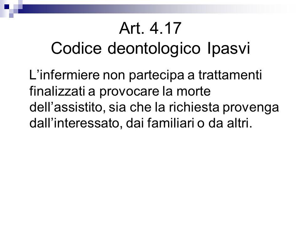 Art. 4.17 Codice deontologico Ipasvi Linfermiere non partecipa a trattamenti finalizzati a provocare la morte dellassistito, sia che la richiesta prov