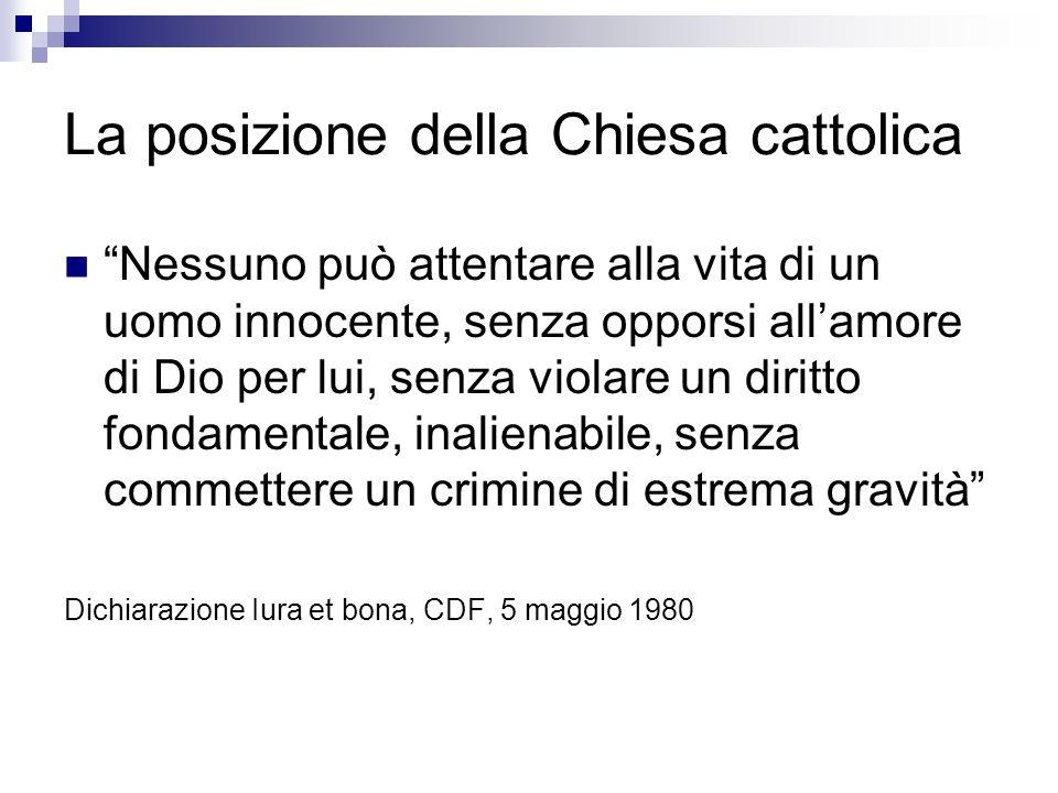 La posizione della Chiesa cattolica Nessuno può attentare alla vita di un uomo innocente, senza opporsi allamore di Dio per lui, senza violare un diri