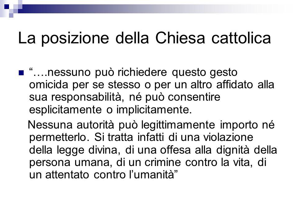 La posizione della Chiesa cattolica ….nessuno può richiedere questo gesto omicida per se stesso o per un altro affidato alla sua responsabilità, né pu