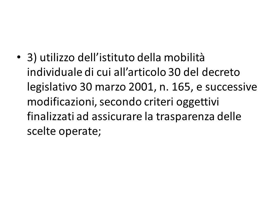 3) utilizzo dellistituto della mobilità individuale di cui allarticolo 30 del decreto legislativo 30 marzo 2001, n.