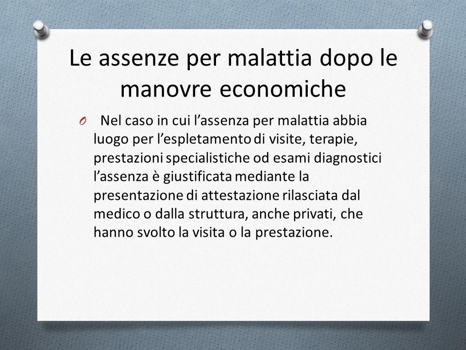 Le assenze per malattia dopo le manovre economiche O Nel caso in cui lassenza per malattia abbia luogo per lespletamento di visite, terapie, prestazio