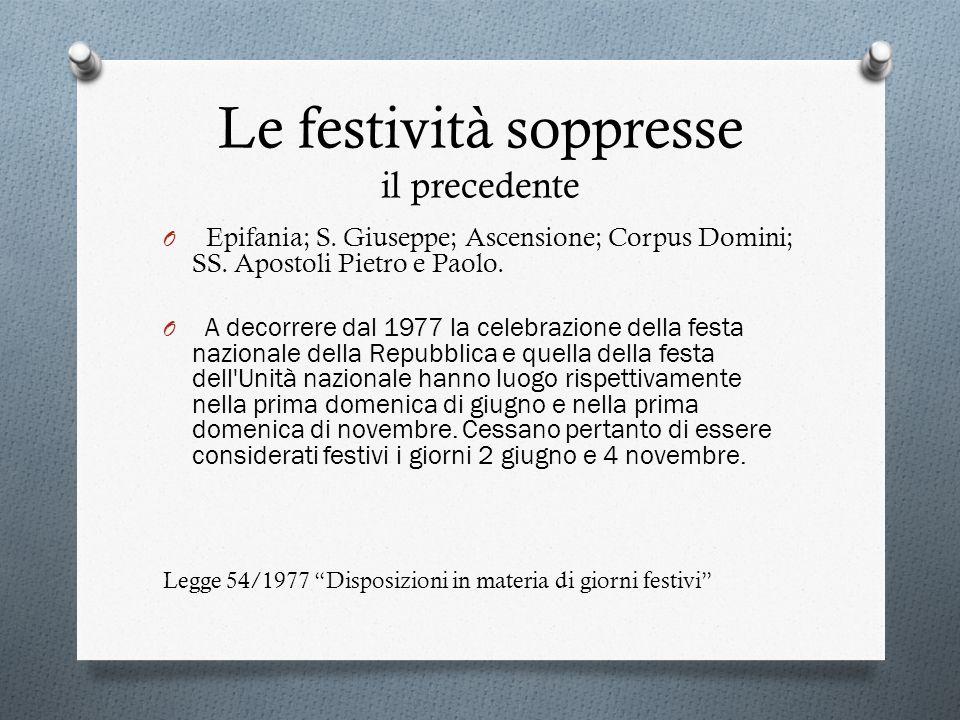 Le festività soppresse il precedente O Epifania; S. Giuseppe; Ascensione; Corpus Domini; SS. Apostoli Pietro e Paolo. O A decorrere dal 1977 la celebr