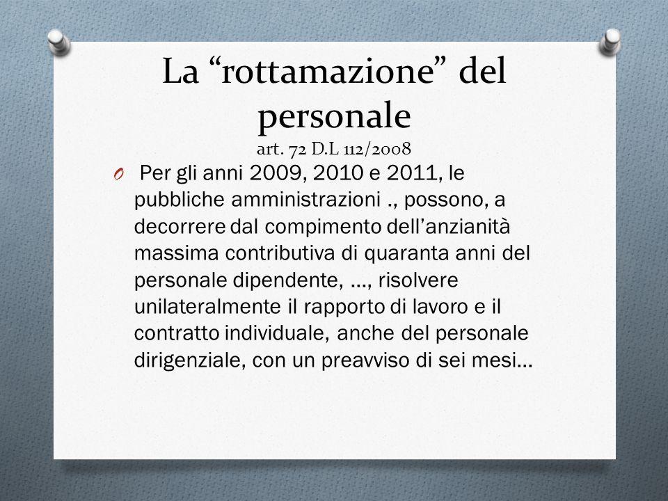 La rottamazione del personale art. 72 D.L 112/2008 O Per gli anni 2009, 2010 e 2011, le pubbliche amministrazioni., possono, a decorrere dal compiment