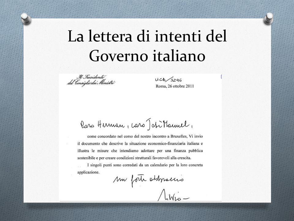 La lettera di intenti del Governo italiano