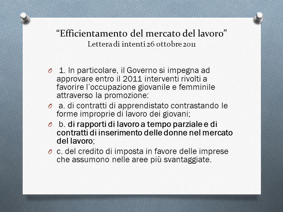 Efficientamento del mercato del lavoro Lettera di intenti 26 ottobre 2011 O 1. In particolare, il Governo si impegna ad approvare entro il 2011 interv