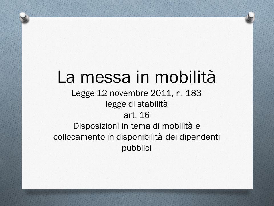 La messa in mobilità Legge 12 novembre 2011, n. 183 legge di stabilità art. 16 Disposizioni in tema di mobilità e collocamento in disponibilità dei di