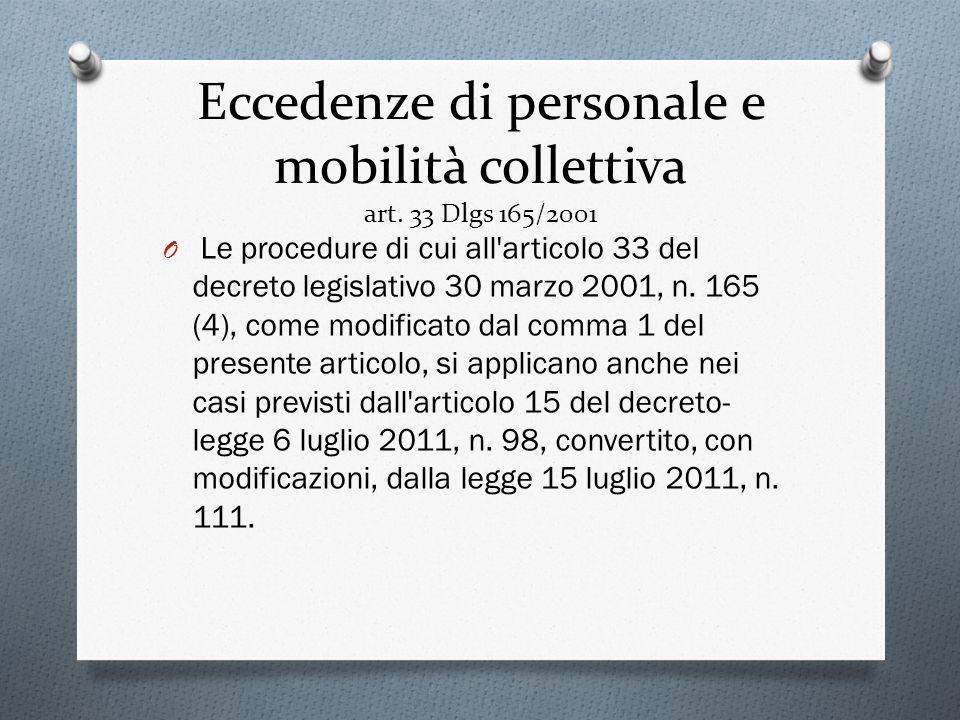 Eccedenze di personale e mobilità collettiva art. 33 Dlgs 165/2001 O Le procedure di cui all'articolo 33 del decreto legislativo 30 marzo 2001, n. 165