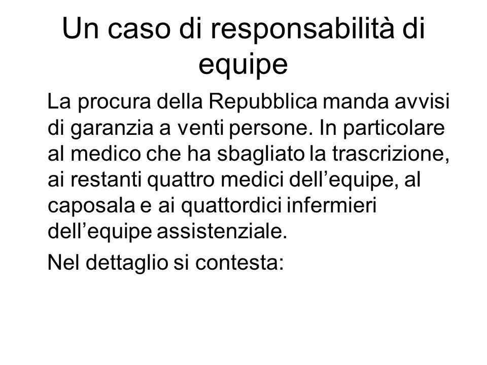 Un caso di responsabilità di equipe La procura della Repubblica manda avvisi di garanzia a venti persone.
