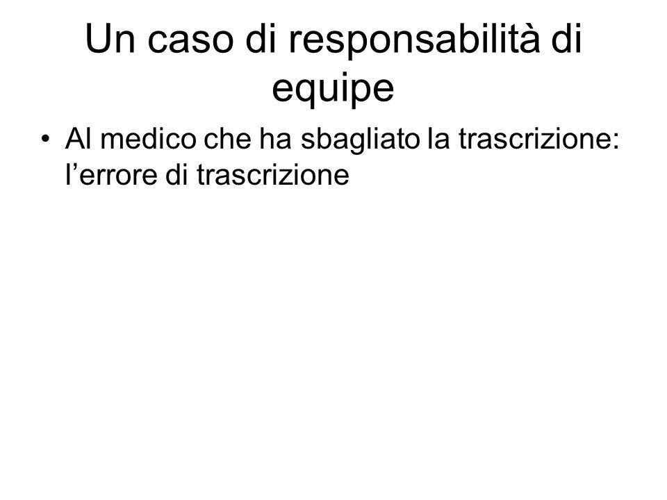 Un caso di responsabilità di equipe Al medico che ha sbagliato la trascrizione: lerrore di trascrizione